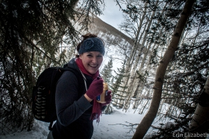 Eating peanut butter on a long, wintery hike when I was back visiting in the States.
