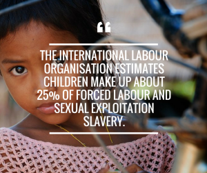 The International Labour Organisation estimates children make up about 25% of forced labour and sexual exploitation slavery.